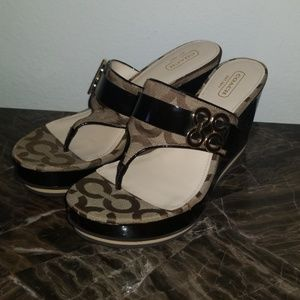 Coach women's wedge sandals like new !